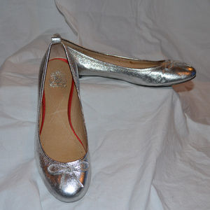 JEFFREY CAMPBELL LEATHER BALLET SILVER FLATS 7.5